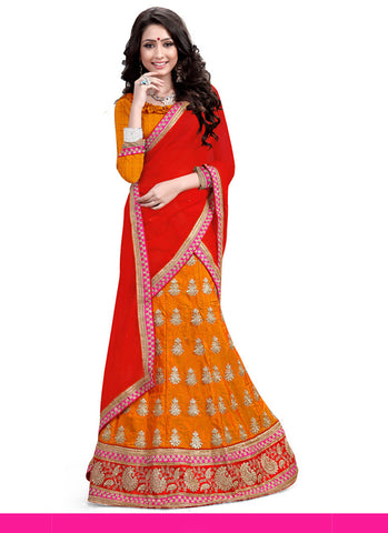 Women's Silk Fabric Orange Color Pretty Unstitched Lehenga Choli With Lace Work Dupatta