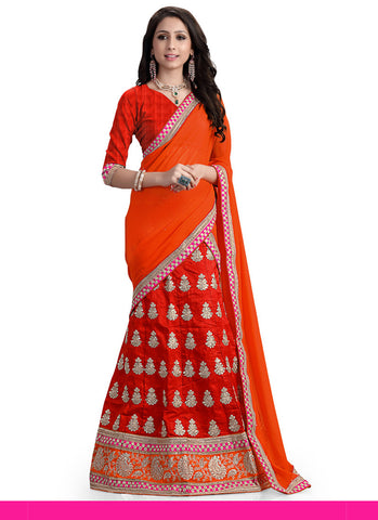 Women's Silk Fabric Red Color Pretty Unstitched Lehenga Choli With Lace Work Dupatta
