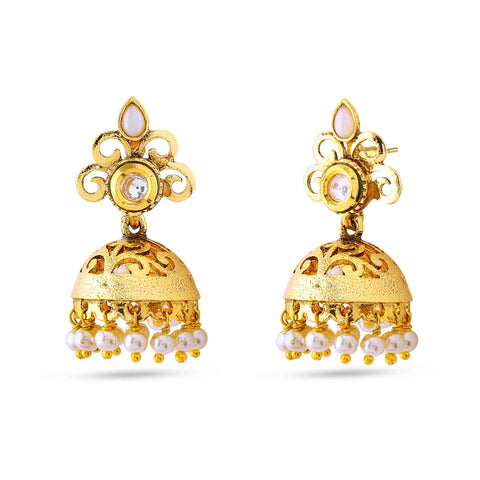 New Look Beige & Gold Artificial Jewellery Earrings For Women's