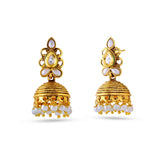luxurious & Heavy Collection In Artificial Jewellery of Earrings In Beige & Gold