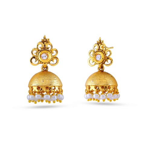Traditional & Heavy Collection In Artificial Jewellery of Earrings In Beige & Gold