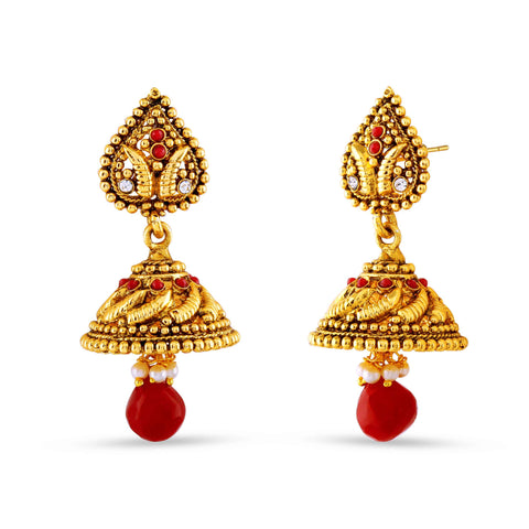 Perfect look Red, Beige & Gold Earrings