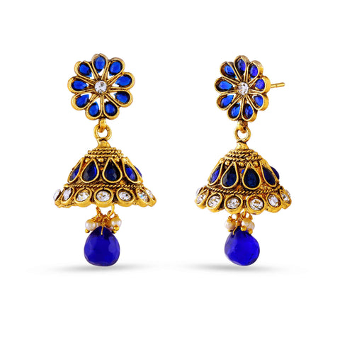 New Look Beige, Blue & Gold Artificial Jewellery Earrings For Women's