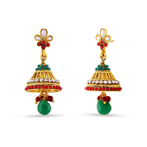 Perfect look Red, Green & Gold Artificial Jewellery Earrings