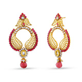 Perfect look Beige, Pink & Gold Artificial Jewellery Earrings