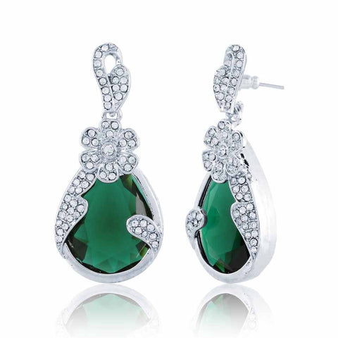 Perfect look Green & Silver Artificial Jewellery Earrings