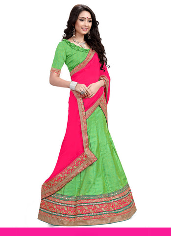 Women's Pretty A Line Lehenga Style in Lime Green With Lace Work Dupatta