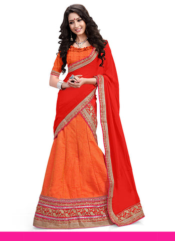 Women's Orange Pretty A Line Lehenga Style With Lace Work Dupatta