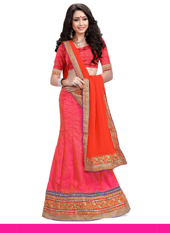Women's Silk Fabric & Salmon Color Pretty A Line Lehenga Style With Lace Work Dupatta