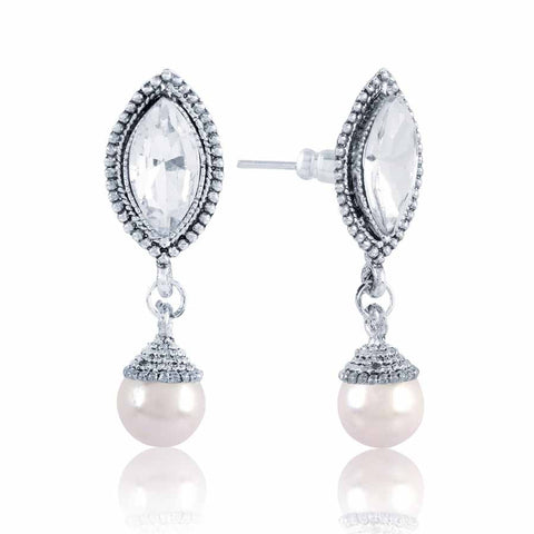Perfect look Gray & Silver Precious Jewellery Earrings