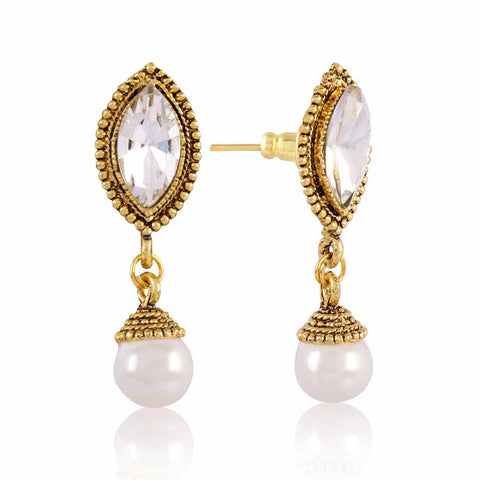 Perfect look Gray, Silver & Gold Precious Jewellery Earrings
