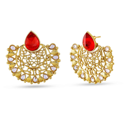 Fancy & Fantastic Collection In Artificial Jewellery of Earrings In Red, Beige & Gold