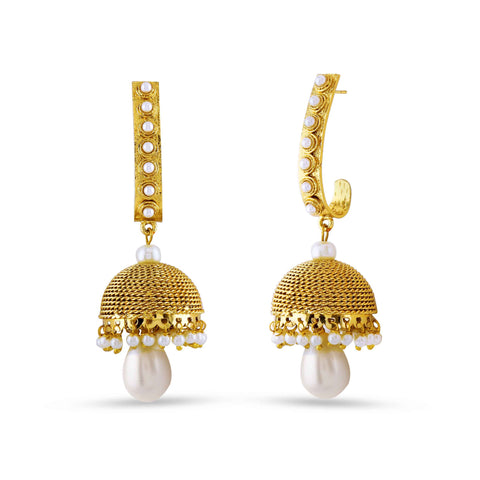 luxurious & Fancy Collection In Artificial Jewellery of Earrings In Beige, Blue & Gold