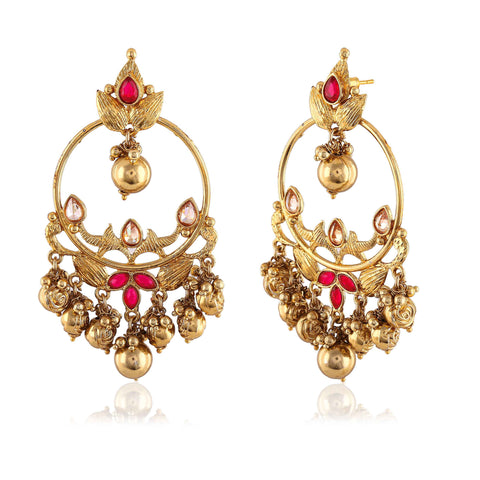 Perfect look Pink & Gold Artificial Jewellery Earrings