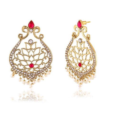 Traditional & Designer Collection In Artificial Jewellery of Earrings In Red & Gold