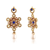 Perfect look Red, Blue & Gold Earrings