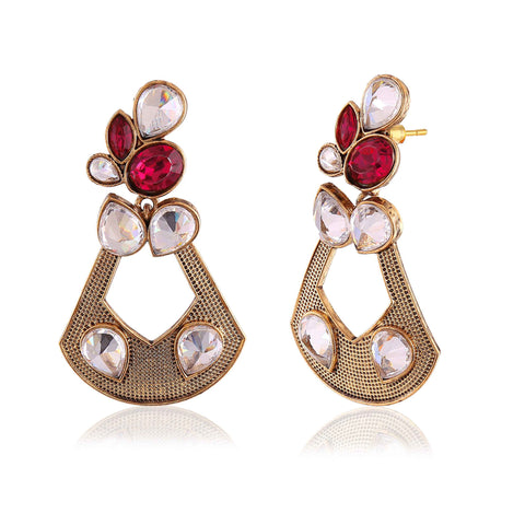 Heavy & Designer Collection In Artificial Jewellery of Earrings In Red, Beige & Gold