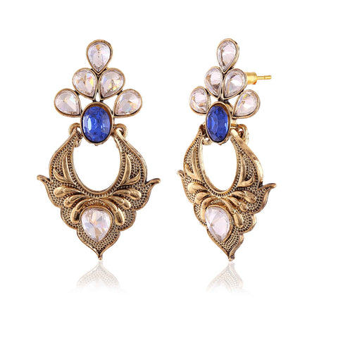 Heavy & Designer Collection In Artificial Jewellery of Earrings In Beige, Blue & Gold