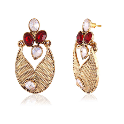 Designer & Heavy Collection In Artificial Jewellery of Earrings In Red, Beige & Gold