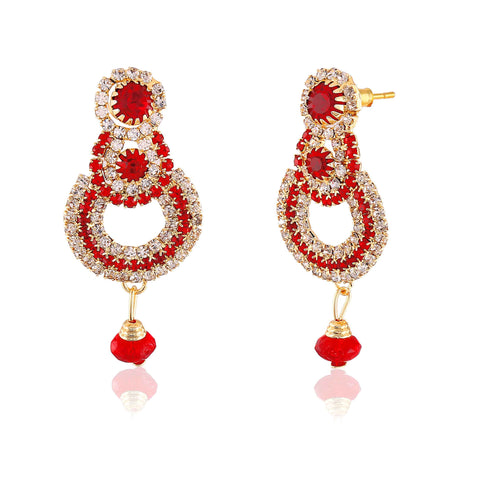 Heavy & Designer Collection In Artificial Jewellery of Earrings In Red & Gold