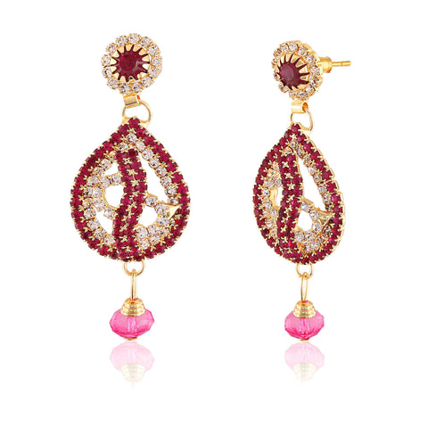 Perfect look Red, Pink & Gold Earrings