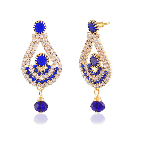 Perfect look Blue & Gold Artificial Jewellery Earrings