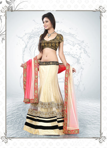 Women's Net Fabric & Cream Pretty A Line Lehenga Style With Lace Work Dupatta