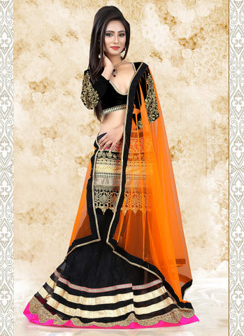 Women's Net Fabric & Black Pretty A Line Lehenga Style With Lace Work Dupatta