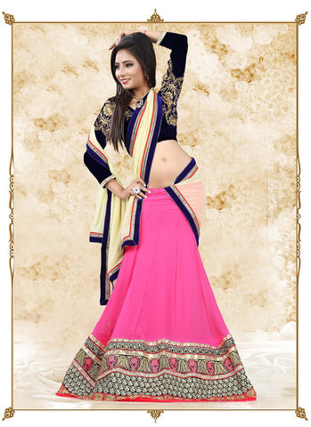 Women's Georgette Fabric & Rose Pink Pretty A Line Lehenga Style With Lace Work Dupatta