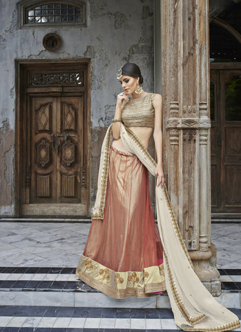 Women's Pretty Circular Lehenga Style in Salmon With Crystals Stones Work Dupatta