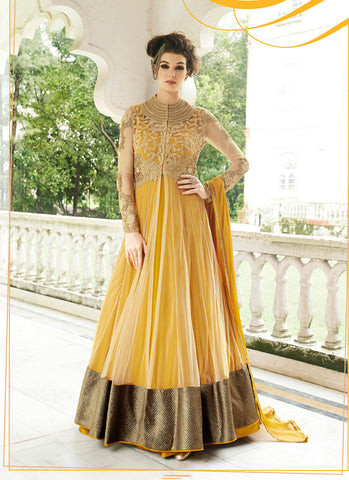 Anarkali Style Yellow Color with Butta Work Incredible Unstitched Salwar Kameez