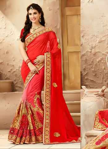 Classic Looking Viscose Satin Red Women's Ethnic Saree