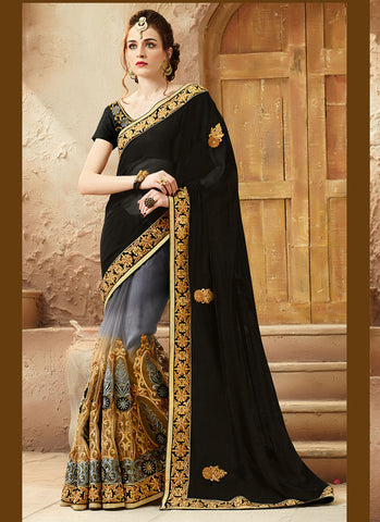 Classic Looking Viscose Satin Black Women's Ethnic Saree