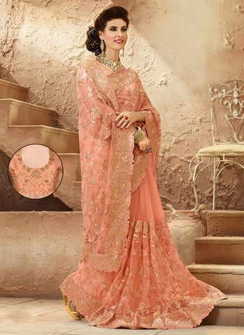 Embroidered Pallu Saree in Peach Puff