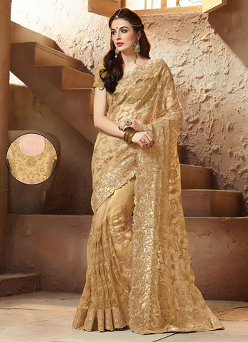 Tan Brown Saree With Eye-catching Embroidered Pallu