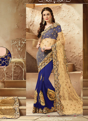 Women's Classic Looking Viscose Satin Blue Saree