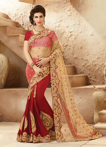 Attractive Looking Viscose Satin Brown Ethnic Saree Womens