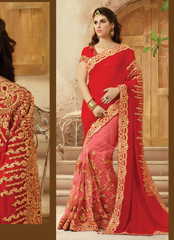 Women's Attractive Looking Red Viscose Satin Ethnic Saree