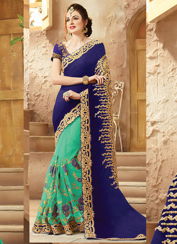 Women's Attractive Looking Ethnic Blue Viscose Satin Saree