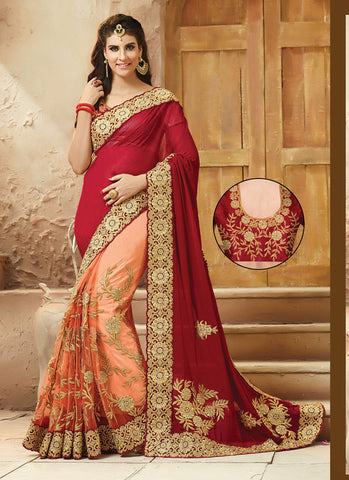 Incredible Embroidered Pallu Saree in Peach Puff Color