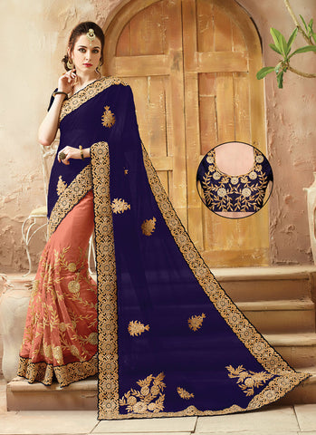 Royal Blue Viscose Satin Saree