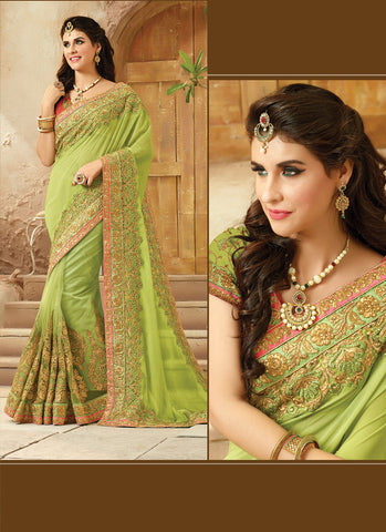 Parrot Green Saree With Gorgeous Embroidered Pallu