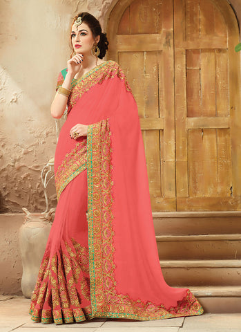 Coral Saree With Charming Embroidered Pallu