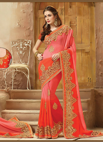 Striking Embroidered Pallu Saree in Orange Color