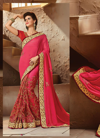 Fine-looking Embroidered Pallu Saree in Deep Pink Color