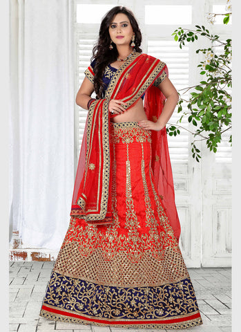 Women's Bhagalpuri Silk Fabric & Red Pretty A Line Lehenga Style