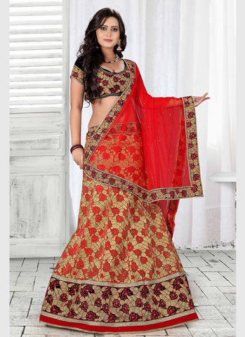 Women's Pretty A Line Lehenga Style in Red Color With Crystals Stones Work Dupatta