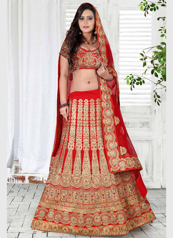Women's Bhagalpuri Silk Fabric & Red Pretty Unstitched Lehenga Choli