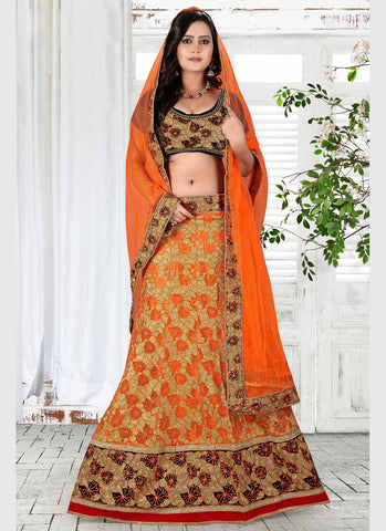 Women's Pretty A Line Lehenga Style in Orange Color With Crystals Stones Work Dupatta