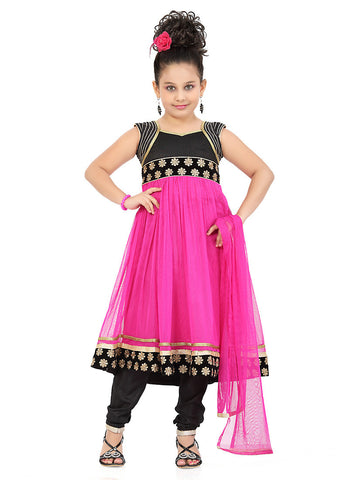 Girl's Art Silk Black color Incredible Girl's Readymade Salwar Kameez with Butta Work